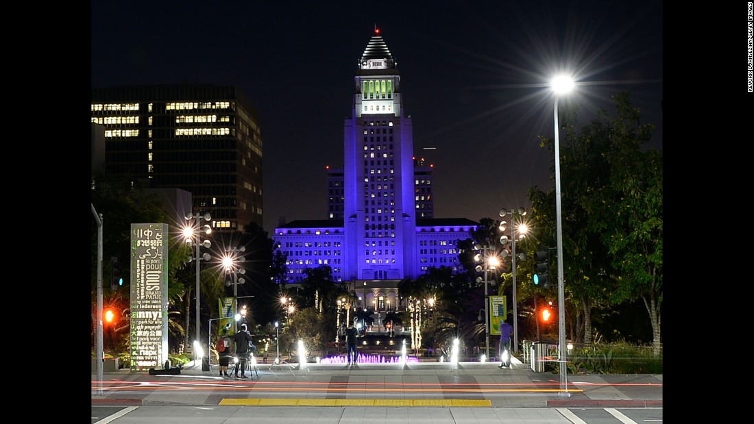 Los Angeles City Hall is bathed in purple light in memory of Prince on April 21.
