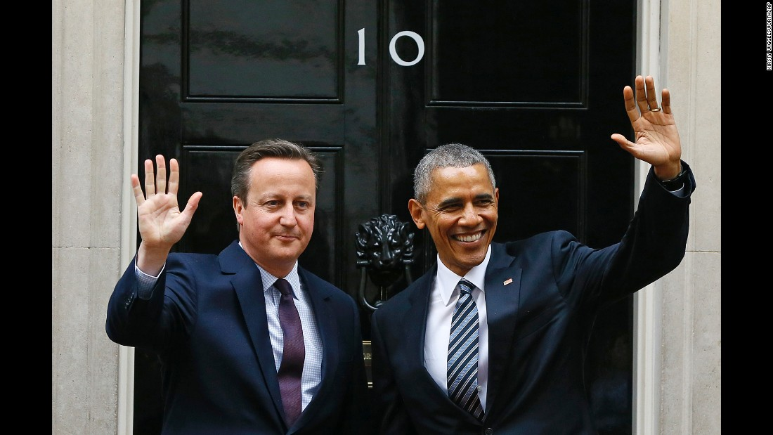 "President Barack Obama and British Prime Minister David Cameron wave from the steps of 10 Downing Street, London, before a meeting Friday, April, 22. <a href=""http://www.cnn.com/2016/04/22/politics/barack-obama-david-cameron-press-conference/index.html"" target=""_blank"">Obama urged British voters to remain in the European Union</a>, arguing that a British departure from the alliance would not just be bad for the United Kingdom, but would run contrary to the national interests of the United States, threatening stability and prosperity in the Western world at a time of turmoil."