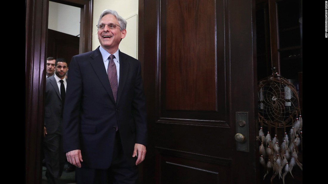 Supreme Court nominee Merrick Garland arrives in the office of Sen. Tim Kaine before a meeting in the Russell Senate Office Building on Capitol Hill on Thursday, April 21. President Barack Obama nominated Garland to replace Associate Justice Antonin Scalia, who passed away earlier this year.