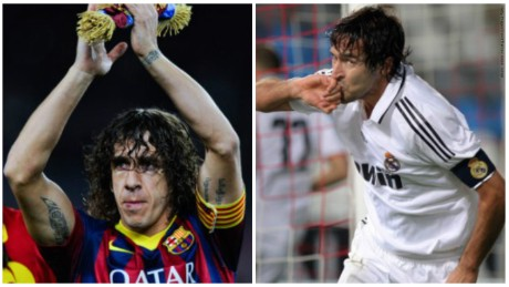 Old rival: Carles Puyol of Barcelona and Real Madrid's Raul.