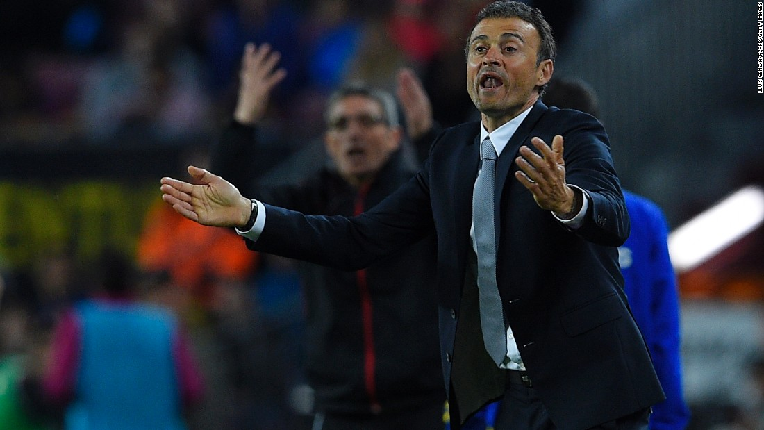 Barcelona coach Luis Enrique gestures on the sideline as his side take Sporting apart.