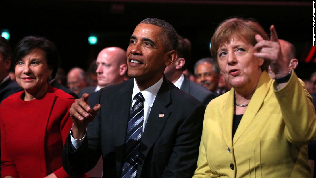 From left, U.S. Secretary of Commerce Penny Pritzker, Obama and Merkel attend the opening ceremony of the Hannover Messe on Sunday, April 24.
