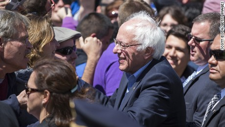 Sen. Bernie Sanders (D-VT) greets supporters following his rally at Roger Williams Park on April 24, 2016 in Providence, Rhode Island.