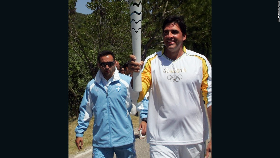 Giovane Gavio, a retired volleyball star, was the first Brazilian to take a leg of this year's Olympic torch relay during a lighting ceremony in Greece this month.