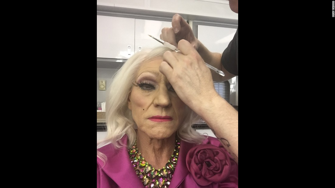 """Something is happening in Hollywood tonight,"" <a href=""https://twitter.com/SirPatStew/status/722251866793316353"" target=""_blank"">tweeted actor Patrick Stewart</a> as he has makeup applied on Monday, April 18. He appeared in drag for a screening of his TV show ""Blunt Talk."""