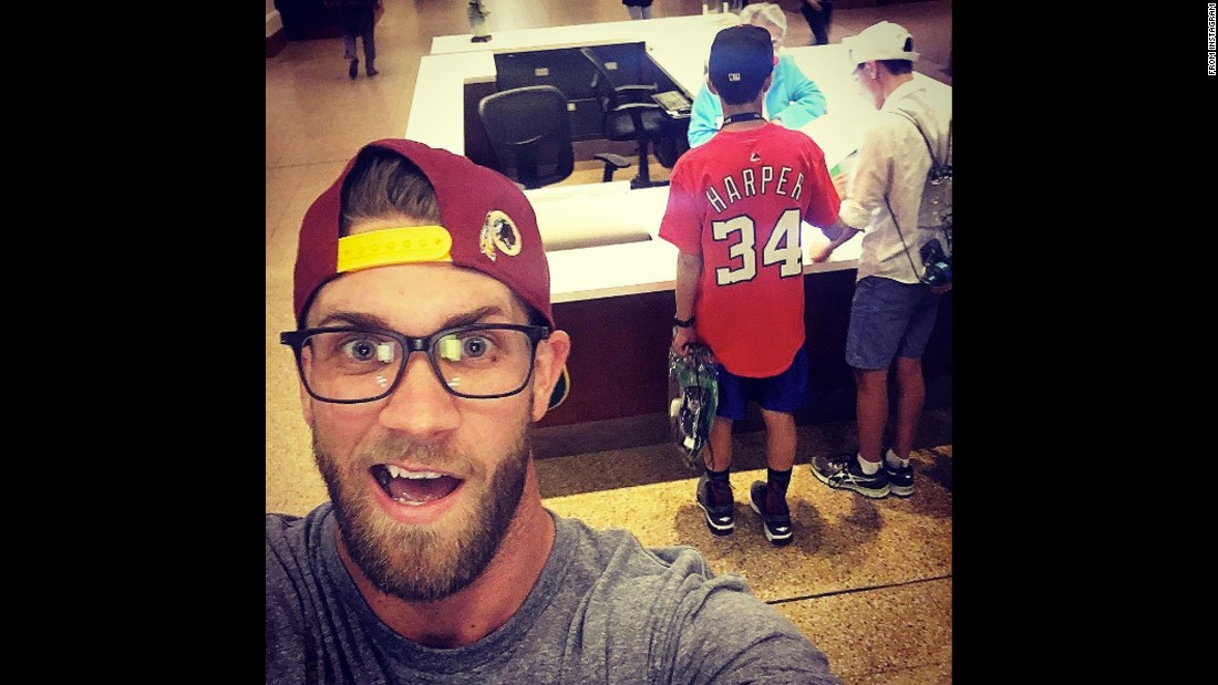 "Baseball star Bryce Harper snaps a selfie with an unsuspecting fan on Monday, April 25. ""Just some shenanigans on the off day at the @smithsonian Natural History museum!"" <a href=""https://www.instagram.com/p/BEosGfZAIaN/"" target=""_blank"">Harper said on Instagram.</a>"
