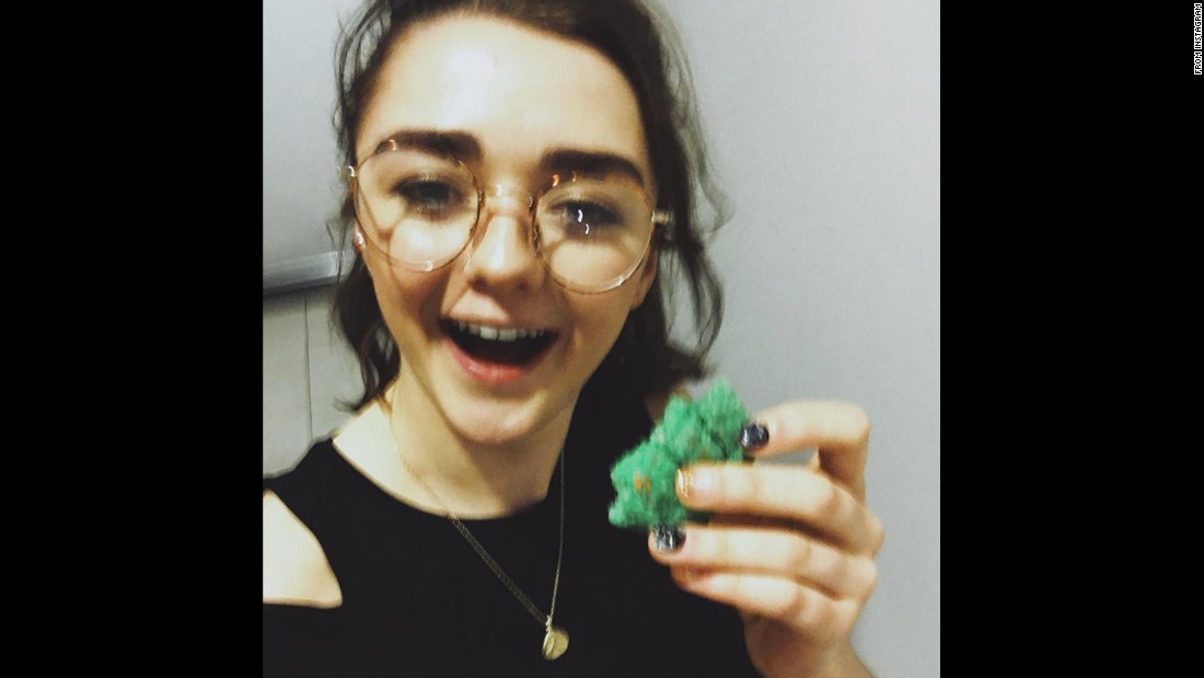 "Actress Maisie Williams brought extra snacks to some fans' ""Game of Thrones"" viewing party on Sunday, April 24. She also tried some of their snacks. ""Thanks for the dragon egg cookies, they were THA BOMB,"" <a href=""https://www.instagram.com/p/BEnHgkfnqlC/"" target=""_blank"">she said on Instagram.</a>"