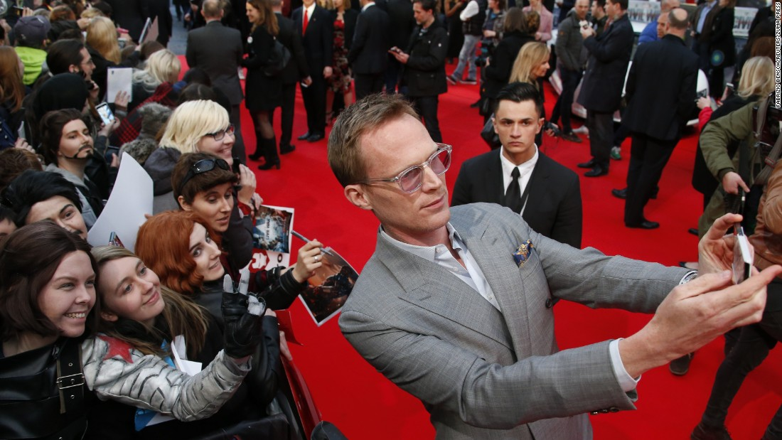 Actor Paul Bettany takes a selfie before the German premiere of the new Captain America movie on Thursday, April 21.