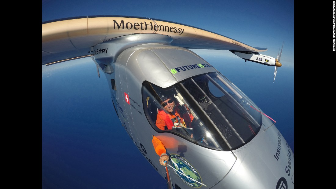 Bertrand Piccard takes a selfie aboard a solar-powered plane during a test flight over the Pacific Ocean on Saturday, April 9.