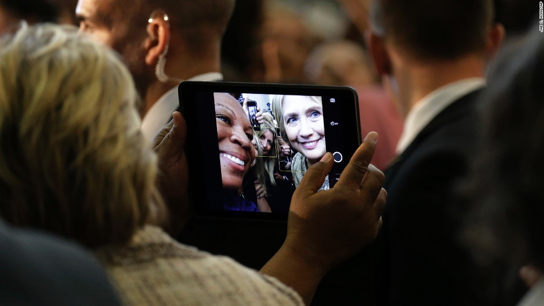 Democratic presidential candidate Hillary Clinton pauses for a selfie at a campaign event in Los Angeles on Saturday, April 16.