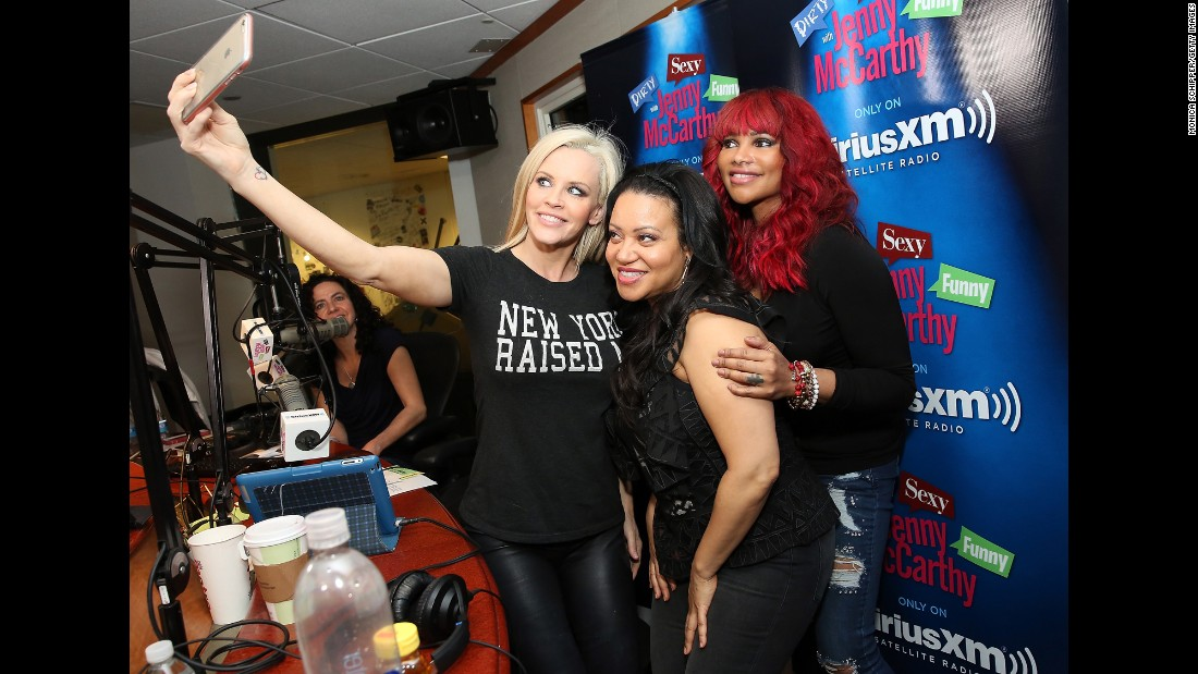 Radio host Jenny McCarthy takes a selfie with hip-hop duo Salt-N-Pepa on Tuesday, April 19.