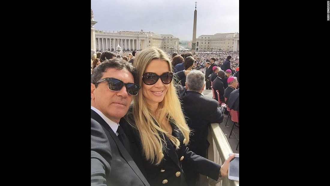 "Actor Antonio Banderas and his girlfriend, Nicole Kimpel, <a href=""https://www.instagram.com/p/BEI78KnE2Ri/"" target=""_blank"">take a selfie at the Vatican</a> on Wednesday, April 13."