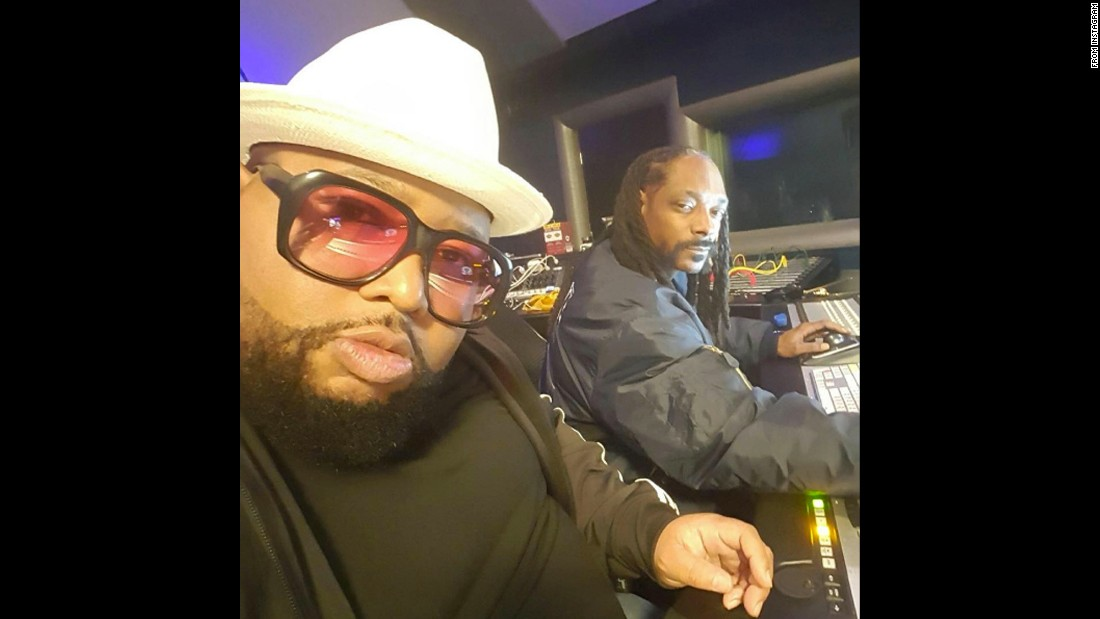 "Rapper Snoop Dogg, right, works with producer Jazze Pha on Tuesday, April 26. ""Cadillac music coming soon,"" <a href=""https://www.instagram.com/p/BEpwciIP9HS/"" target=""_blank"">Snoop said on Instagram.</a>"