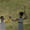 Rio 2016 Olympics torchbearer lighting ceremony Petrounias