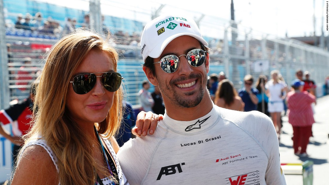 This year's championship leader Lucas di Grassi pictured with American actress Lindsey Lohan at last year's Moscow ePrix.