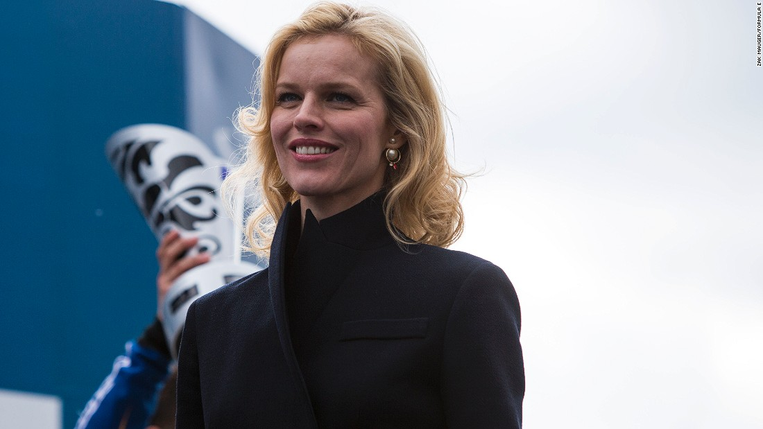 The race attracted a sell-out 20,000 crowd including the Czech supermodel Eva Herzigova (pictured) and Prince Albert of Monaco.