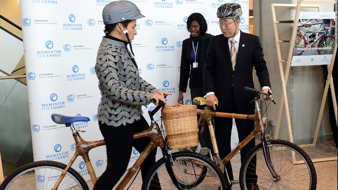 Bamboo bikes are one of the many products made from the sturdy plant which is seeing an economic boom in Asia and Africa. Here UN Secretary General Ban Ki-moon and Christiana Figueres of the United Nations Framework Convention on Climate Change test bamboo bicycles, made by Evelyn Ohenewaa Gyasi from Ghana.