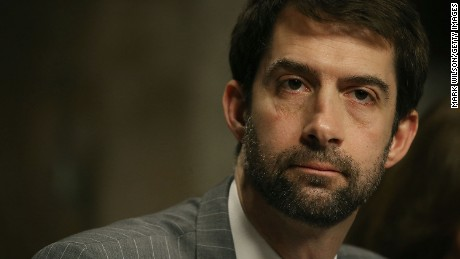 Sen. Tom Cotton (R-AR) listens to testimony during a Senate Armed Services Committee hearing on Capitol Hill, February 2, 2016 in Washington, DC.