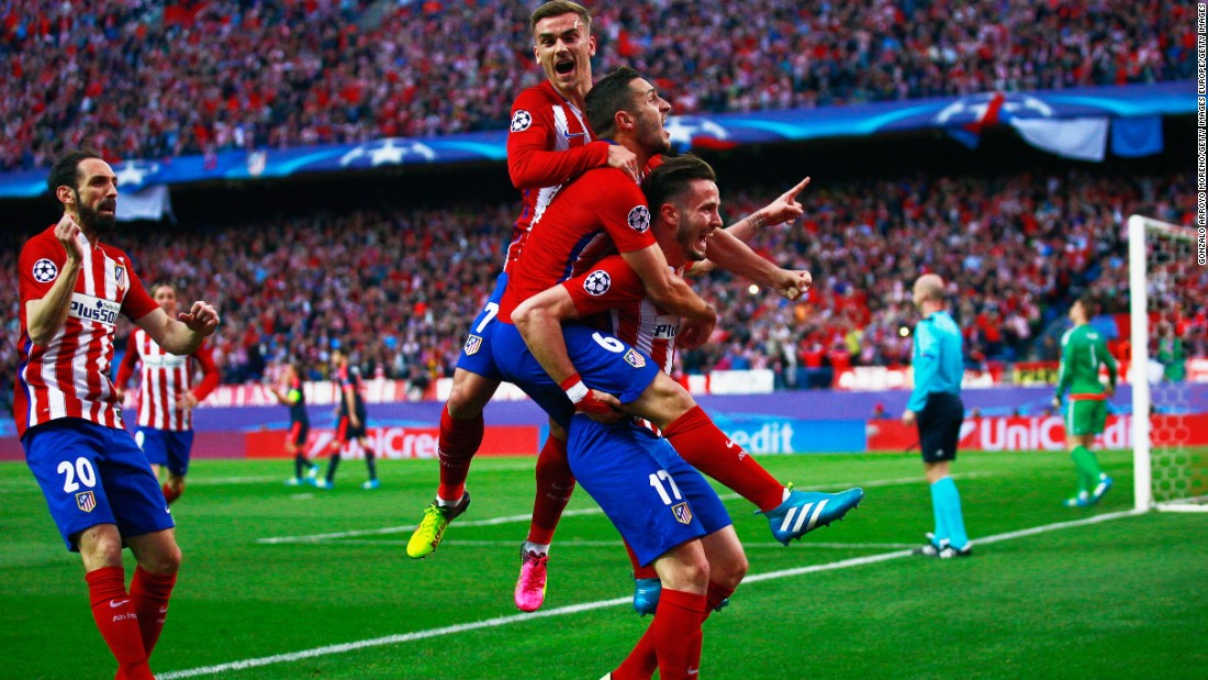 Saul Niguez gave Atletico Madrid the perfect start to its Champions League semifinal tie with a spectacular 11th minute strike. The midfielder danced his way through the Bayern Munich defense before curling home a sumptuous effort.