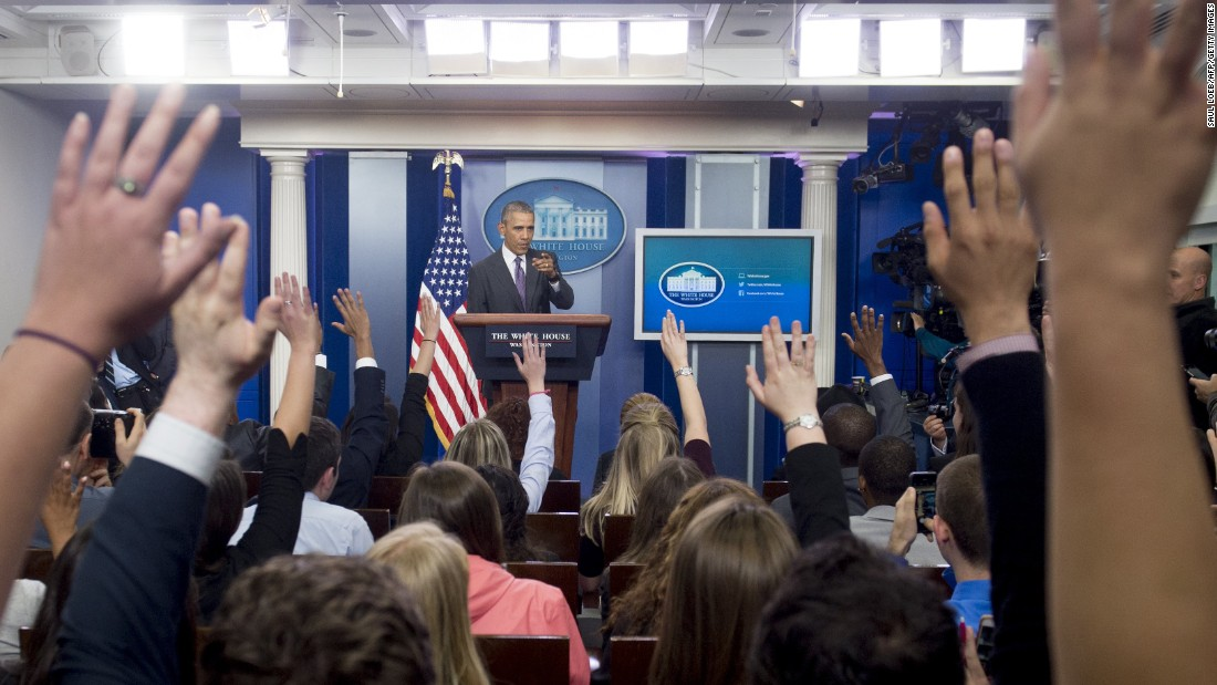 President Barack Obama answers questions during a White House briefing for college journalists on Thursday, April 28.