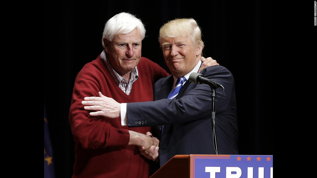 "Legendary basketball coach Bobby Knight shakes hands with Republican presidential candidate Donald Trump <a href=""http://www.cnn.com/2016/04/28/politics/donald-trump-bobby-knight/"" target=""_blank"">during Trump's campaign stop</a> in Evansville, Indiana, on Thursday, April 28."