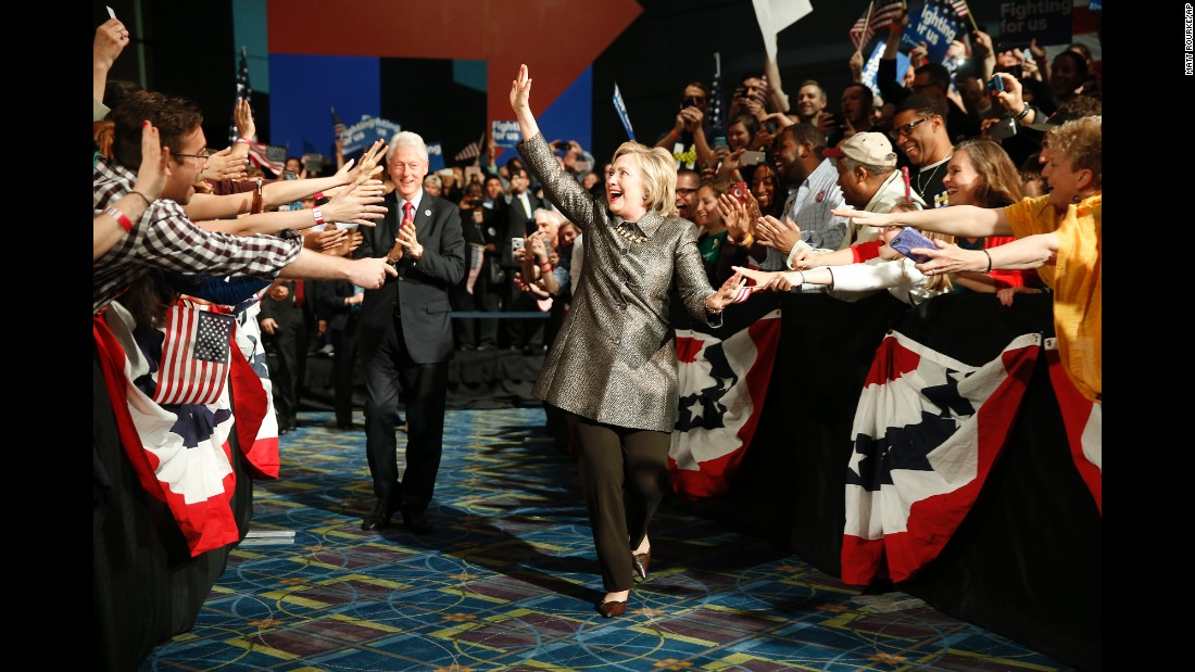 "Democratic presidential candidate Hillary Clinton and her husband, former President Bill Clinton, walk to the stage at an election night rally in Philadelphia on Tuesday, April 26. <a href=""http://www.cnn.com/2016/04/26/politics/primary-results-highlights/"" target=""_blank"">She won the primary in Pennsylvania and several other states</a> to move closer to the nomination."