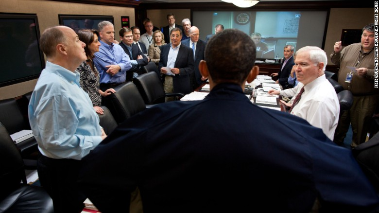 President Barack Obama Talks With Members Of The National Security Team At  The Conclusion Of One