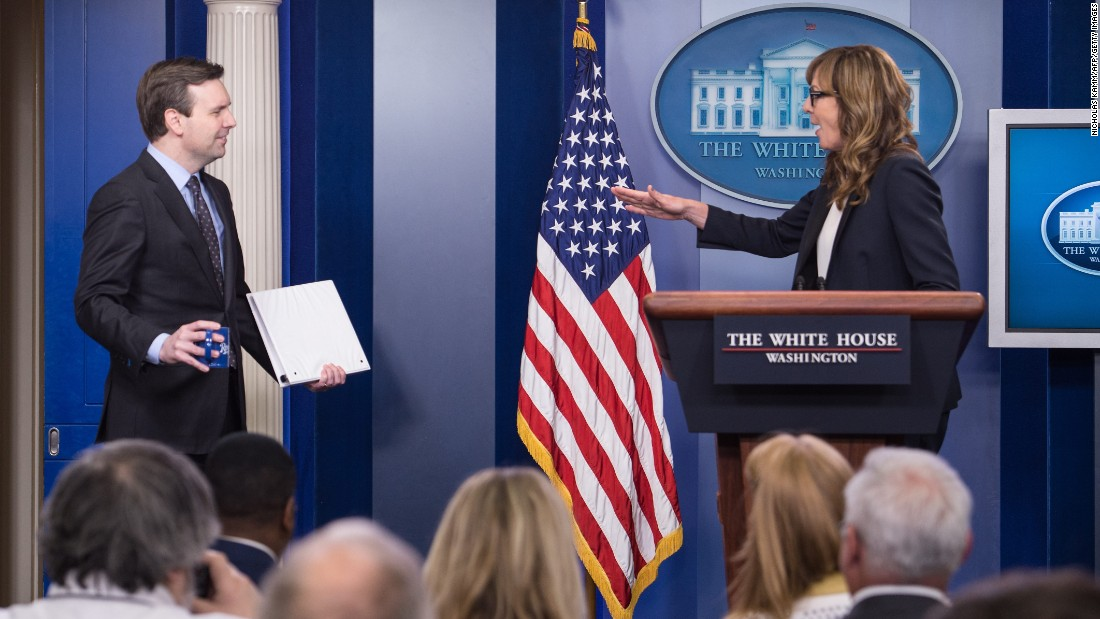 "Actress Allison Janney, who played the role of White House press secretary C.J. Cregg on the television drama ""The West Wing,"" jokes with White House spokesman Josh Earnest as she makes <a href=""http://www.cnn.com/2016/04/29/politics/allison-janney-cj-cregg-white-house/"" target=""_blank"">a surprise appearance</a> on Friday, April 29. She stopped by the White House to take part in a Champions of Change ceremony where 10 individuals were awarded for their efforts to prevent substance abuse."