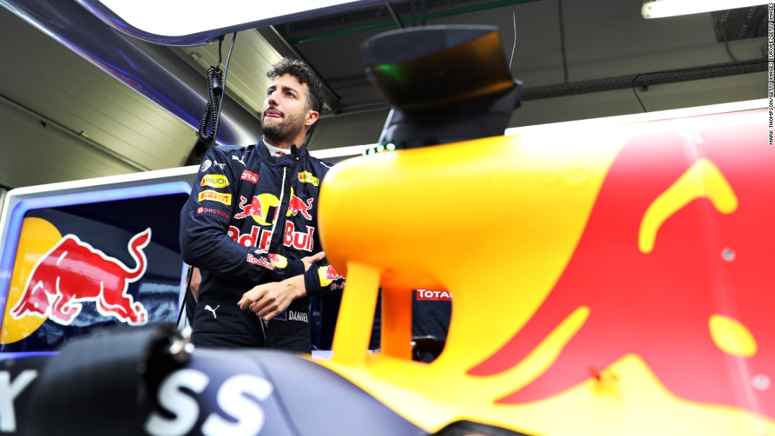 Daniel Ricciardo of Australia and Red Bull Racing in the garage during qualifying for the Formula One Grand Prix of Russia at Sochi Autodrom on April 30, 2016 in Sochi, Russia.