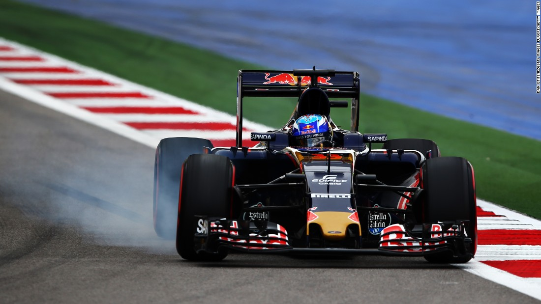 Max Verstappen of the Netherlands driving the (33) Scuderia Toro Rosso STR11 Ferrari 060/5 turbo locks a wheel under braking on track during qualifying for the Formula One Grand Prix of Russia at Sochi Autodrom on April 30, 2016 in Sochi, Russia.