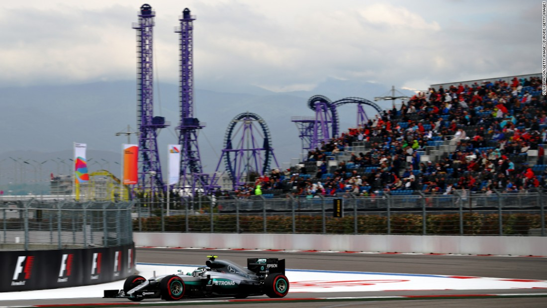 Nico Rosberg of Germany driving the (6) Mercedes AMG Petronas F1 Team Mercedes F1 WO7 Mercedes PU106C Hybrid turbo on track during qualifying for the Formula One Grand Prix of Russia at Sochi Autodrom on April 30, 2016 in Sochi, Russia.