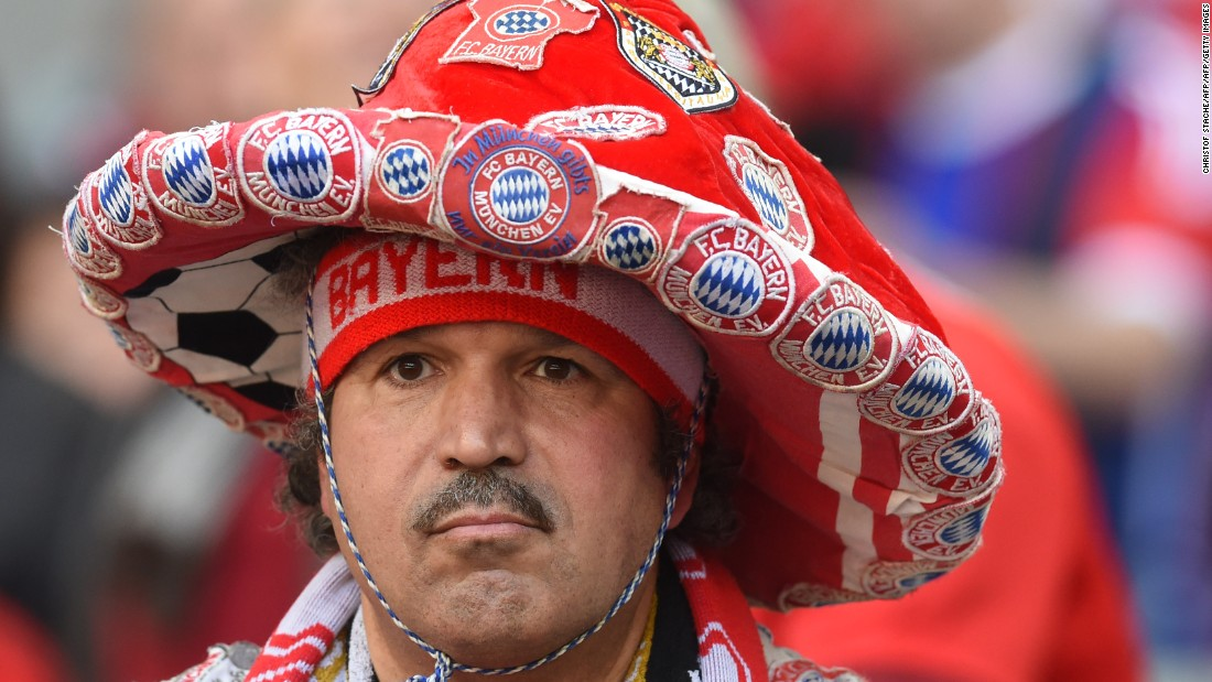 A Bayern Munich supporter waits ahead the German first division Bundesliga football match Bayern Munich vs Borussia Moenchengladbach in Munich.