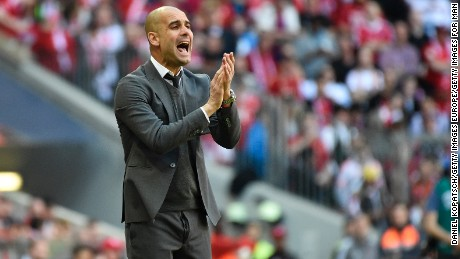 MUNICH, GERMANY - APRIL 30: Coach Josep Guardiola of Muenchen reacts during the Bundesliga match between FC Bayern Muenchen and Borussia Moenchengladbach at Allianz Arena on April 30, 2016 in Munich, Germany. (Photo by Daniel Kopatsch/Getty Images For MAN)