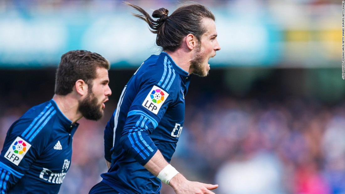 Gareth Bale of Real Madrid celebrates after scoring the only goal during the La Liga match between Real Sociedad and Real Madrid.