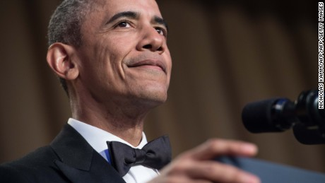 US President Barack Obama speaks at the 102nd White House Correspondents' Association Dinner in Washington, DC, on April 30, 2016. / AFP / NICHOLAS KAMM        (Photo credit should read NICHOLAS KAMM/AFP/Getty Images)