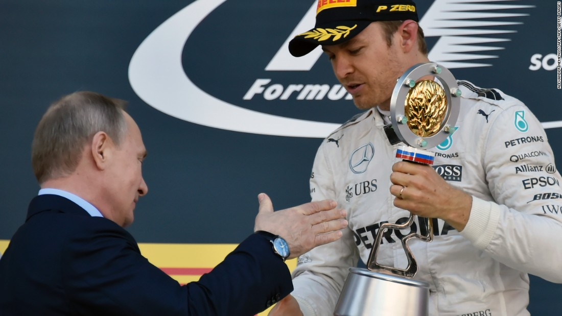 "President Vladimir Putin was on the podium to hand out the victory laurels to Rosberg once more. Another engine problem left Hamilton back in second as his teammate <a href=""http://cnn.com/2016/05/01/motorsport/russian-grand-prix-sochi-lewis-hamilton-nico-rosberg/"" target=""_blank"">moved into a 43-point lead.</a>"