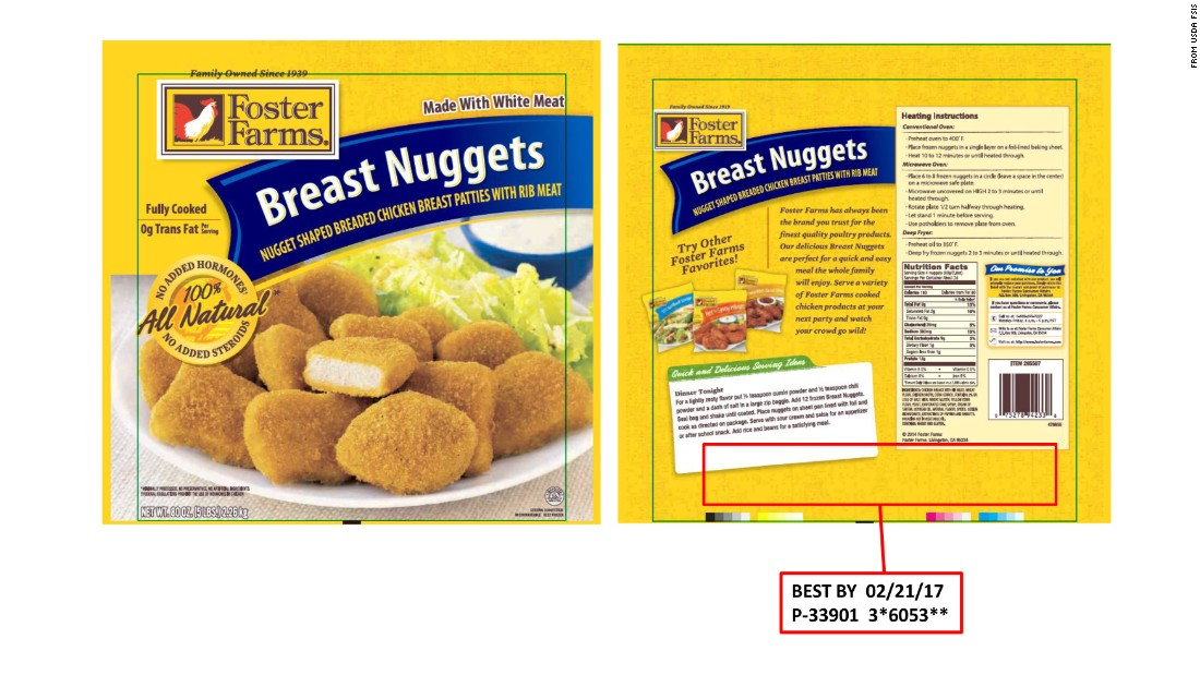 "<a href=""http://www.cnn.com/2016/05/02/health/foster-farms-chicken-recall/index.html"">Foster Farms is recalling more than 220,000 pounds of frozen chicken nuggets</a> after concerns they've been contaminated with plastic and rubber material. The products were sold in Alaska, Idaho, Montana, Oregon, Utah, Washington, California and Arizona."