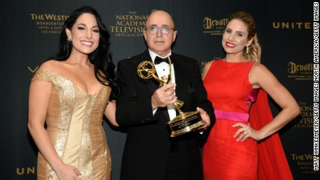LOS ANGELES, CA - MAY 01:  (L-R) TV personality Alejandra Oraa, VP of Programs at CNN Espa??ol Eduardo Suarez, and TV personality Mar??a Alejandra Requena pose in the press room at the 43rd Annual Daytime Emmy Awards at the Westin Bonaventure Hotel on May 1, 2016 in Los Angeles, California.  (Photo by Matt Winkelmeyer/Getty Images)