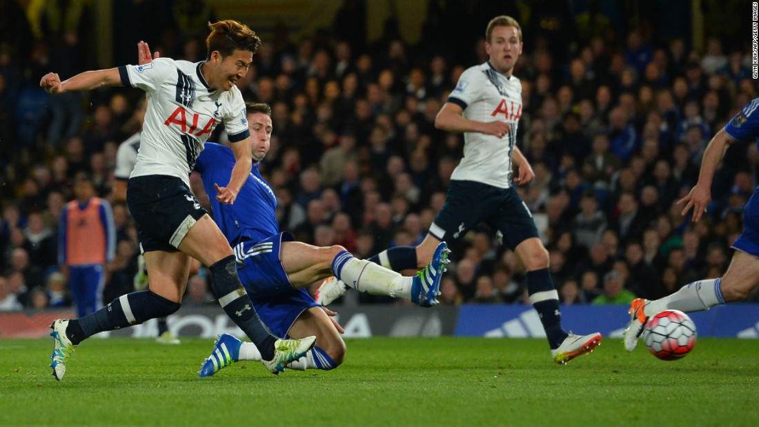 Tottenham's Son Heung-min scores to give his team a 2-0 first-half lead.