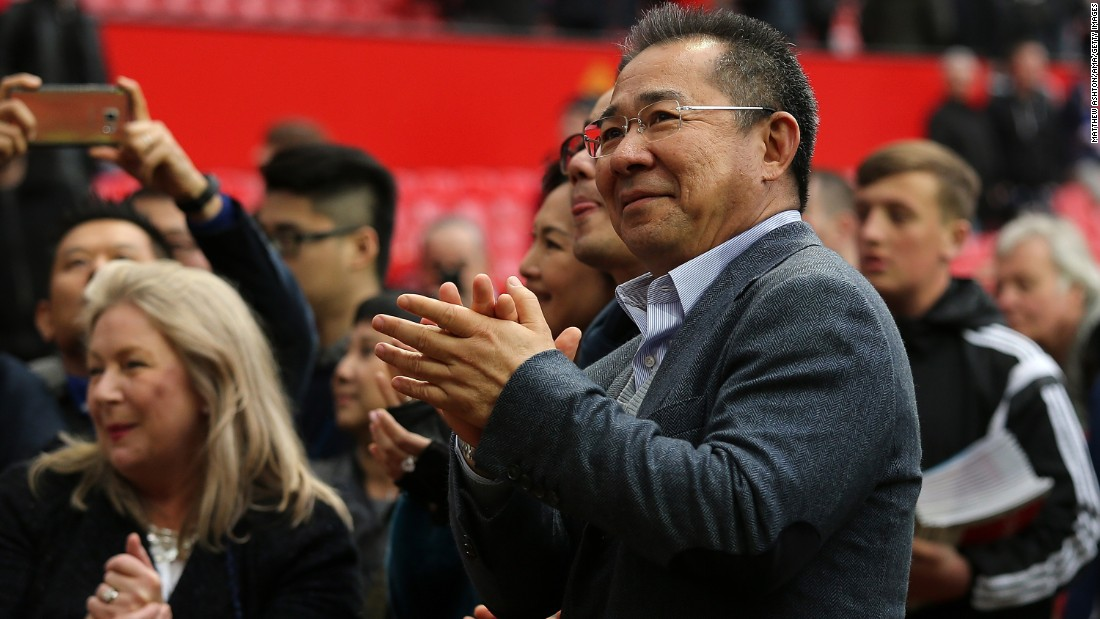 Leicester City owner Vichai Srivaddhanaprabha applauds fans at the end of the Manchester United match.