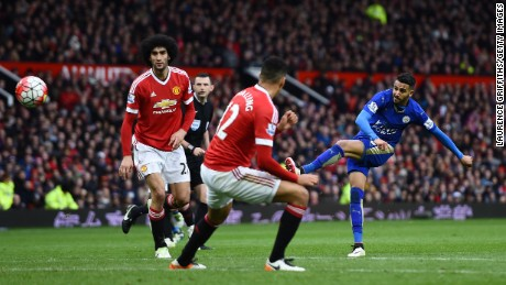 Leicester's player of the year Riyad Mahrez shoots against Manchester United.