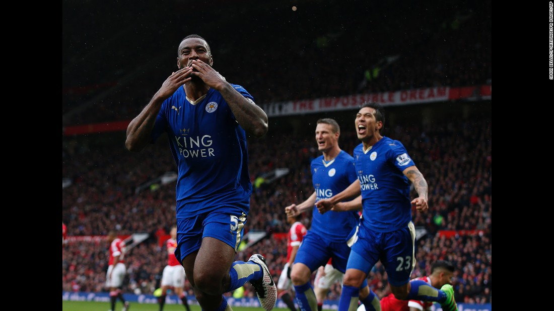 "Leicester City's Wes Morgan blows a kiss after scoring a goal at Manchester United on Sunday, May 1. The match ended 1-1, delaying Leicester's hopes of winning the English Premier League title. But when second-place Tottenham tied Chelsea the next day, the club was finally crowned <a href=""http://www.cnn.com/2016/05/02/football/gallery/leicester-city-wins-title/index.html"" target=""_blank"">the unlikeliest champion in history.</a> The Foxes started the season as a 5,000-to-1 long shot."