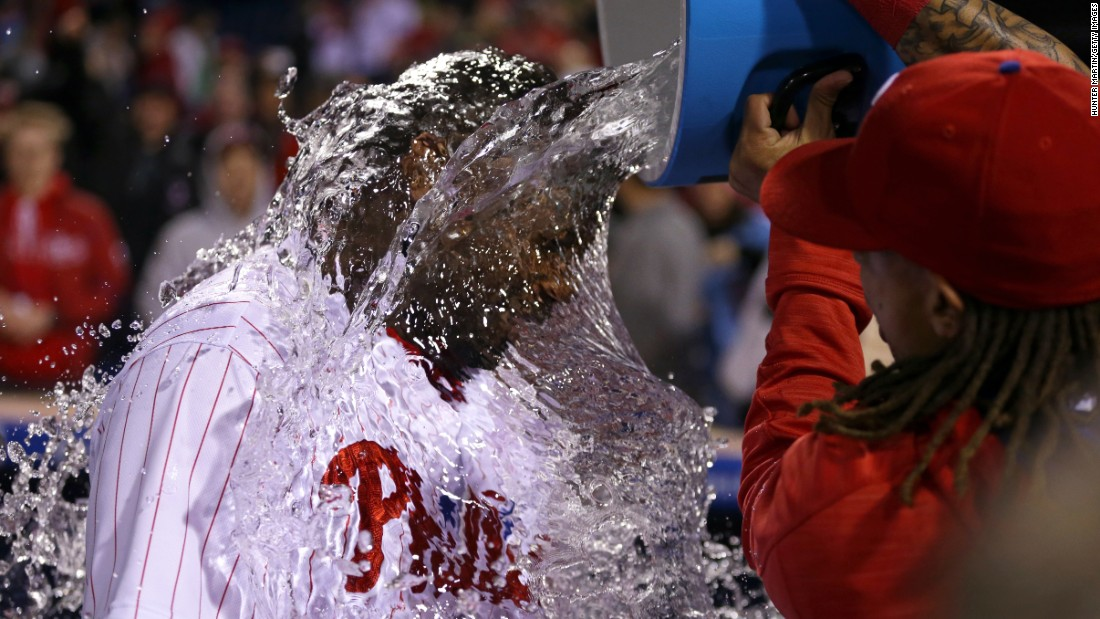 Ryan Howard is doused by a teammate in Philadelphia after hitting a walk-off home run in the 11th inning on Friday, April 29. The Phillies defeated Cleveland 4-3.