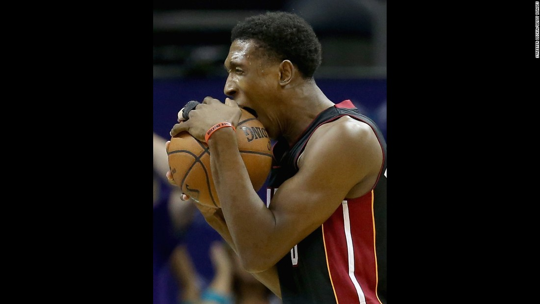 Miami's Josh Richardson reacts to a call made during an NBA playoff game in Charlotte, North Carolina, on Friday, April 29. Miami won the game and later the series to advance to the second round.
