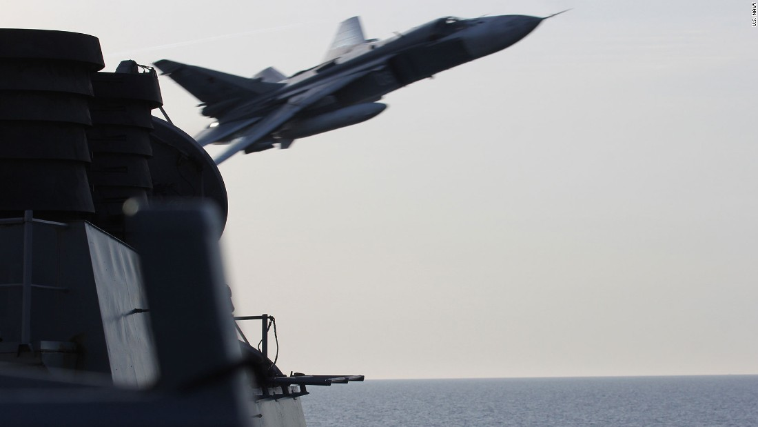 "An unarmed Russian fighter jet flies close to the USS Donald Cook, which was sailing in the Baltic Sea. It was one of <a href=""http://www.cnn.com/2016/04/13/politics/russian-fighter-jet-us-destroyer/index.html"" target=""_blank"">two close encounters</a> in early April, and the U.S. Embassy in Moscow communicated formal concerns to the Russian government about the incidents, according to White House Press Secretary Josh Earnest."