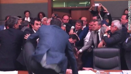 Turkish politicians embroiled in violent brawl
