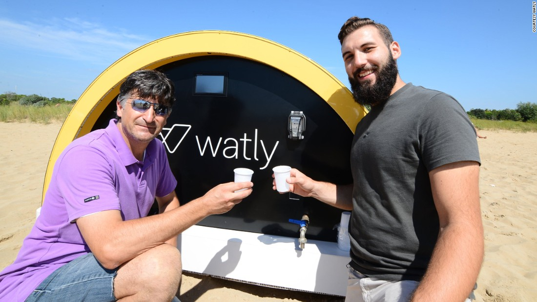 The energy generated through the solar panels is used to produce clean water using a graphene-based filtering process. The company has been testing the technology in rural Ghana and the nest step is to roll out units across Africa. Pictured here are Watly's Matteo Squizzato and Stefano Buiani testing the water.