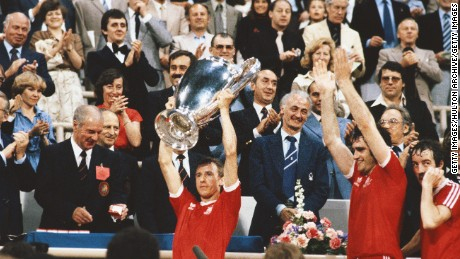 Forest captain John McGovern lifts the trophy after the 1979 European Cup win.