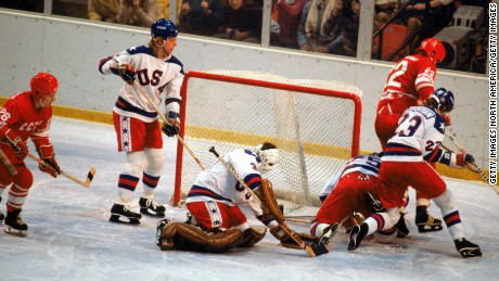 The United States in action against the Soviet Union on February 22, 1980 in Lake Placid.