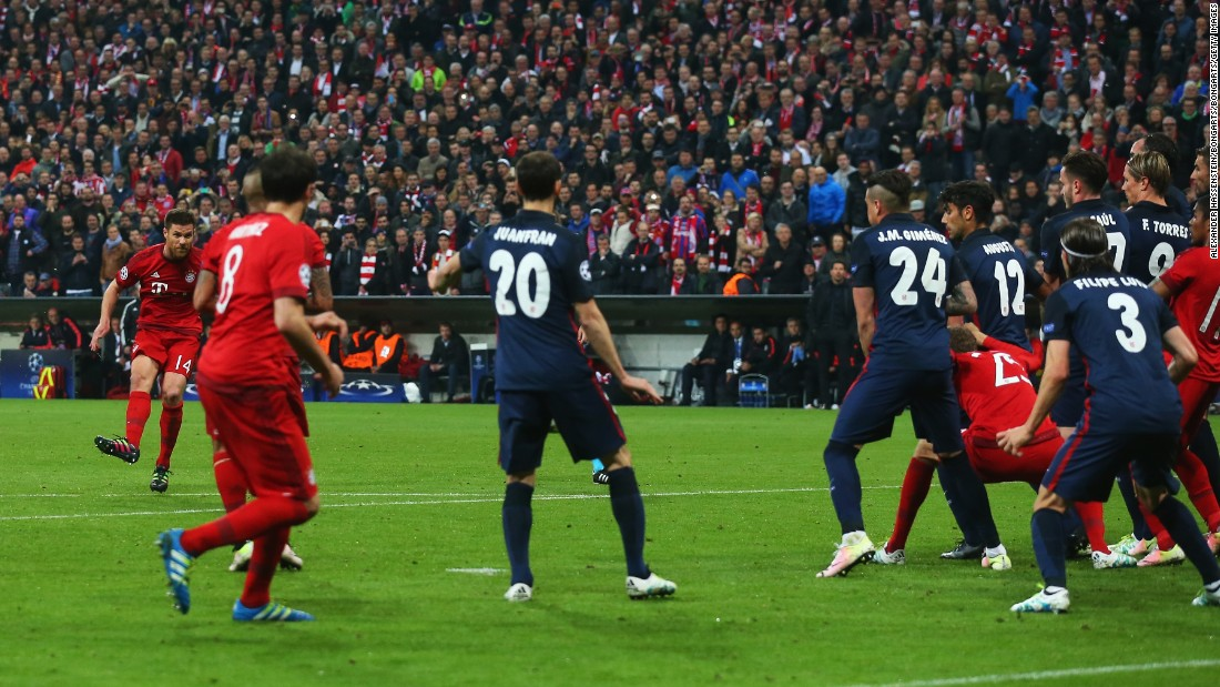 Bayern, having dominated the first half, finally found a way through when Xabi Alonso's free kick was deflected past Jan Oblak in the Bayern goal.